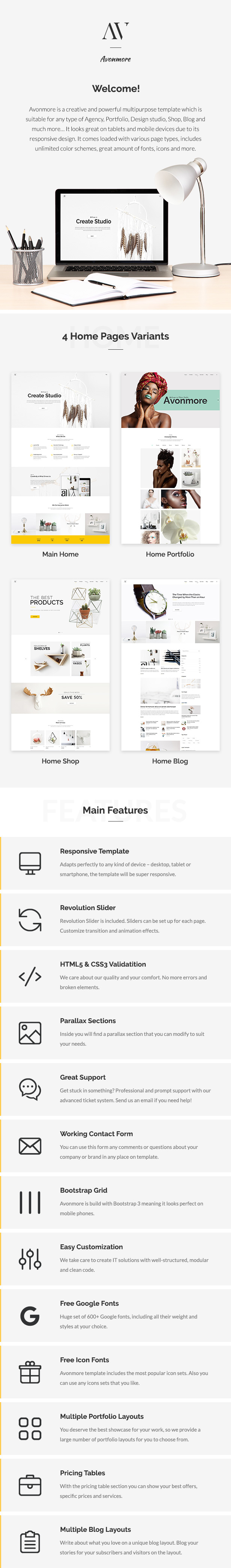 Avonmore - Creative Multipurpose HTML Theme - Creative Site Templates